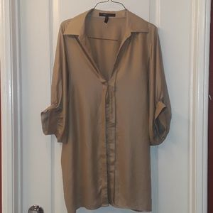 BCBGMAXAZRIA: Tan Creme Blouse Style Dress